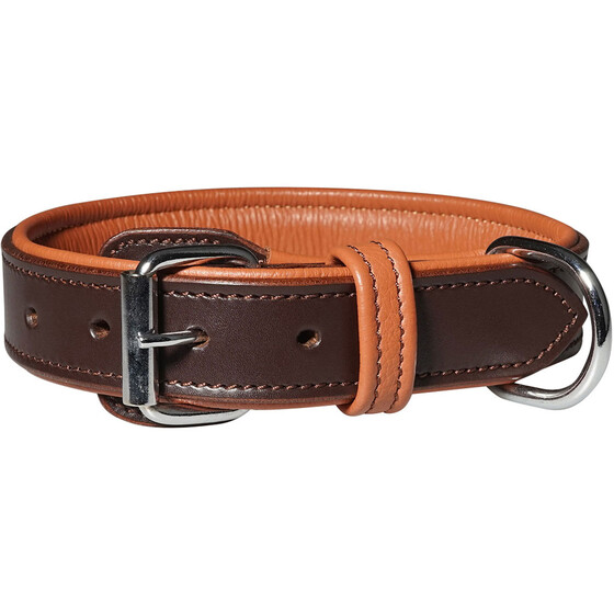 Knuffelwuff Detroit leather dog collar with buckle guard