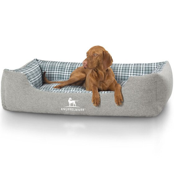 Knuffelwuff Velour Dog Bed Lennard With Check Pattern